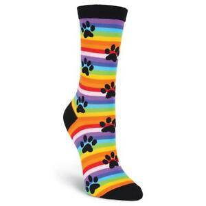 K. Bell Women's 2 pairs Crew Socks Shoe 4-10 RAINBOW STRIPE PAW  Sock Size 9-11