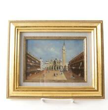 "Oil Painting on Copper of Bell Tower in Square Signed ""MT"". Possibly Venice"