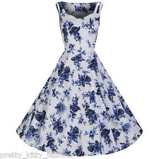 Pretty Kitty Fashion White Blue Vintage Floral Blossom Rockabilly Swing Dress