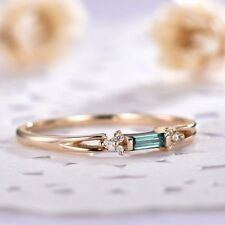 Baguette Cut Green Emerald Minimalist Engagement Ring 14k Yellow Gold Finish