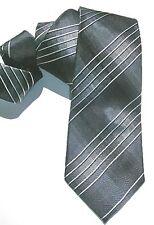 NEW Mens Silk Tie Necktie Black Charcoal Grey Silver Laser Stripe Alfani A1005