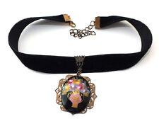 Halsband Kropfband Trachtenschmuck mit Glasanhänger auf Samtband - Unikat
