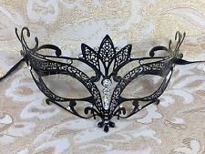 "Black ""Majestic"" Laser Cut Metal Venetian Masquerade Mardi Gras Mask"