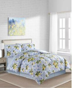 Southern Charm Summertime Lemons & Flowers Full Comforter Set- 8 Piece Bed Set