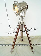 THEATER DESIGNER NAUTICAL TRIPOD FLOOR LAMP SEARCHLIGHT WITH WOOD TRIPOD STAND