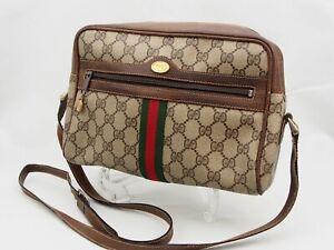 【Rank BC】GUCCI Vintage Sherry Line Shoulder Bag GG Pattern PVC Brown Japan A101