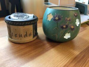 Candle/Tea Light Holders / Floral Design / Heart Stone Demdaco BS-1.31-32