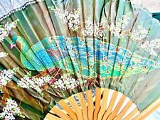 Large Japanese silk hand painted fan w. Peacock, wall decor(?)