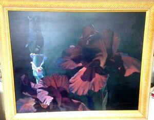 Original signed acrylic flower painting by listed artist Marianne Hornbuckle