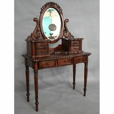 Solid Mahogany Wood Small Dressing Table & Mirror with 7 Drawers Antique Design