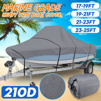 17-25ft 210D Trailerable Boat Cover Marine Grade Waterproof For V-hull