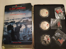2004 60th Anniversary D Day Landings Commemorative 3 coin Silver proof medal set