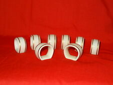 Gorham Classic Porcelain Napkin Rings Ivory w/Gold Accents Qty 8 Signed