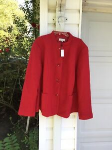 NWT Talbots Beautifully Made Red Boiled Wool Blend Lined Mandarin  Blazer 24W 3X