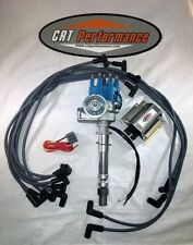 SB Chevy SBC Small Cap H.E.I HEI Distributor Kit W/ Plug Wires & 50K E-Core Coil