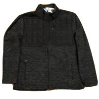 Free Country Overlay Fleece Jacket CharcoalBlack Men's size Medium NWT