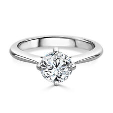 2.00 Ct Round Cut Diamond Engagement Ring Real 18K Solid White Gold Size M P O