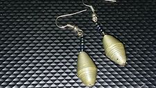 """Ugandan gold/green   paper bead  1 1/4""""  w purple/blue seedbeads earrings  NWOT"""