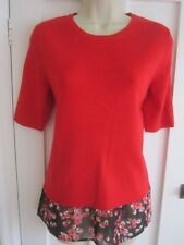 Ladies size 12 George red knitted short sleeve with black red hemline trim top