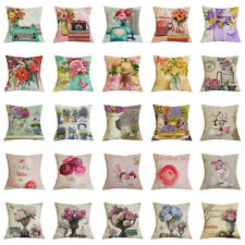 17''Cotton Linen Floral Print Cushion Cover Throw Pillowcase Sofa Bed Car Decor