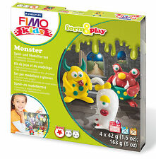 New FIMO Kids Form & Play Set Monster Modelling Jewellery Craft Art Fun