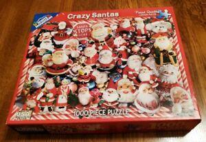 """Crazy Santas"" Jigsaw Puzzle 1000 Piece White Mountain Puzzles - Used"