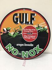 GULF NO NOX VINTAGE Style REPRODUCTION Oil Gas GARAGE ART SIGN