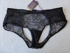 Maison Close Size 12-14 Black Open Back Stretch Lace Panties Strap Thong Briefs