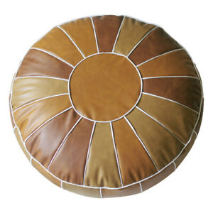 Round Moroccan PU Leather Footstool Cover Pouffe Handmade Ottoman Unstuffed