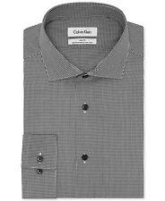 $175 CALVIN KLEIN Men SLIM-FIT WHITE BLACK CHECK BUTTON DRESS SHIRT 15.5 32/33 M