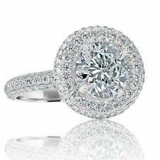 GIA Certified 3.48 Carat Halo Round Cut Diamond Engagement Ring 18k White Gold