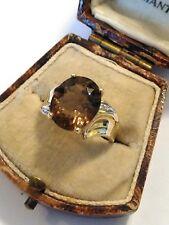 Hallmarked 9ct Gold Smokey Quartz & Diamond  Ring. Size N. Ideal Pinky Ring