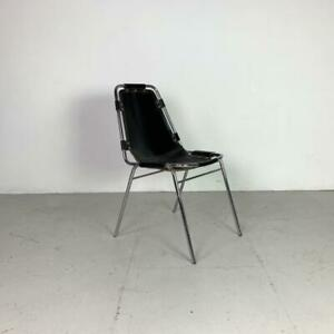 1970s BLA CK LEATHER CHARLOTTE PERRIAND LES ARCS CHAIR MIDCENTURY VINTAGE #3105