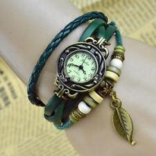 Quarzo Polso Bracciale Retro Orologio da FOGLIA Cuoio Verde Idea Regalo Donna gt