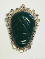 "Green Agate Mayan Aztec Tribal Mask Pendant Pin Sterling Silver 2 1/4"" Mexico"