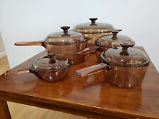 Pyrex Corning Ware Vision Ware Amber 12 pc. set Vintage Glass Cookware