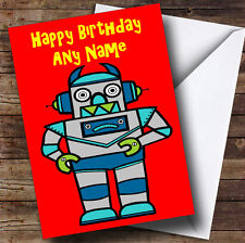 Red Robot Personalised Birthday Greetings Card
