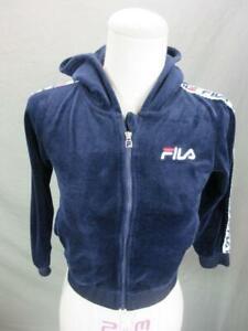 FILA Size 5 Girls Navy Athletic w/Pockets Hooded Sport Velvet Track Jacket T674