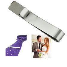 Fashion Silver Metallic Necktie Tie Bar Clasp Clip Stainless Steel Clamp Pin