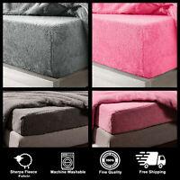 Teddy Fleece Fluffy Fitted Sheet Thermal Warm Sherpa Single Double King Beddings