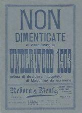 Y2121 Macchine per scrivere UNDERWOOD - Pubblicità del 1903 - Old advertising