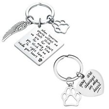 Key Ring Keychain Loss Animal Memorial Keyring Jewelry Dog Cat Lovers 2pcs