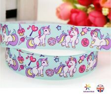 """Blue Unicorn Ribbon 7/8"""" 22mm Sold by meter for Bows and Cakes and Crafting"""