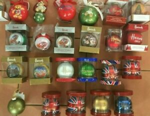Harrods Christmas Baubles dated from 2008 to 2019 + Bear union jack 2016