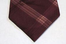 New Men's Calvin Klein Striped Plaid Dress Suit Neck Tie Dark Red Burgundy