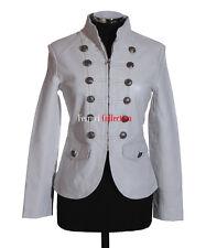 Scarlett Ladies Military Parade Jacket White Womens Studded Napa Leather Jacket