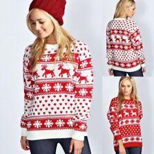 004857f366f UK Ladies Womens Christmas Jumper Reindeer And Snowflake Blouse Xmas Jumper  Tops