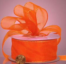 Bi-Color Edge Sheer Ribbon orange color 7/8 inch wide price for 2 yards