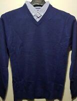Men`s PIERRE CARDIN V-Neck Mock Shirt Jumper Size Medium Blue BNWOT