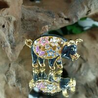 Crystal Cute Pig Animal  Gold Plated Crystal Rhinestone Badge Brooch Pin Jewelry